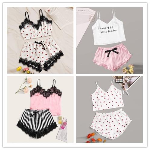 Fashion Pyjamas Women пижама Sleepwear V-Neck Letter Stripe Print Lace Satin Camisole Bowknot Shorts Lingerie Set Free Ship