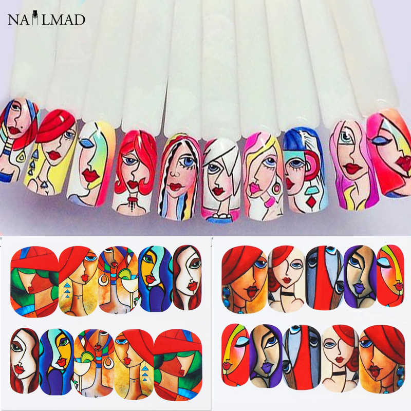 3/6 Pcs Abstract Meisje Gezicht Water Nail Decals Cool Girl Nail Art Sticker Manicure Volledige Slider Nail Art decoraties Tips