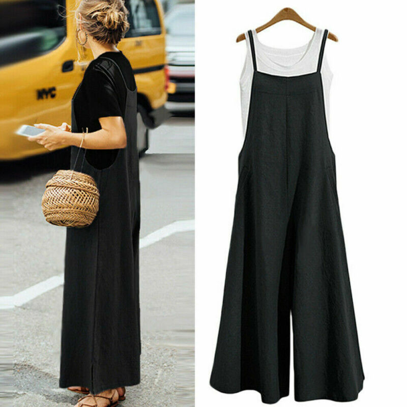 2020 New Women's Casual Overalls Solid Color Sleeveless Summer Jumpsuit Fashion Wide Leg Outfits Pants Trousers Plus Size 3XL