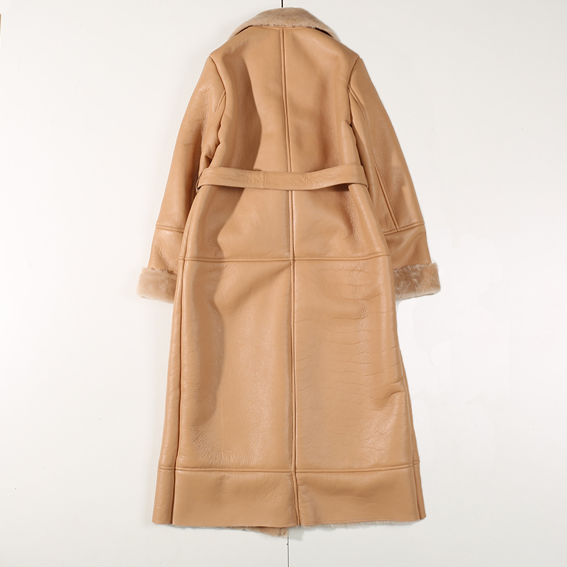 2020 Winter Genuine Leather Skin Khaki Long Coat Shearling Jacket Belt Warm Lamb Sheep Fur Outwear Overcoat