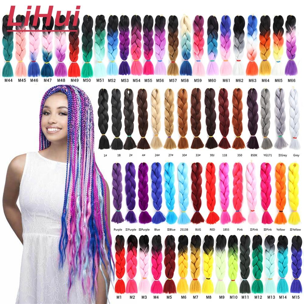 Lihui 24 дюйма Джамбо косы синтетические плетеные волосы Омбре Джамбо наращивание волос для женщин DIY волосы косы розовый фиолетовый желтый се...