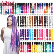 Lihui 24 pulgadas trenza Jumbo pelo trenzado sintético Ombre Jumbo de la extensión del pelo para mujeres DIY trenzas de pelo rosa púrpura amarillo gris
