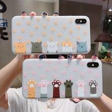 Cute cartoon cat claw phone case for iPhone X XS Max XR POR 11 7 8 6s 6 S Plus thin back cover fashion