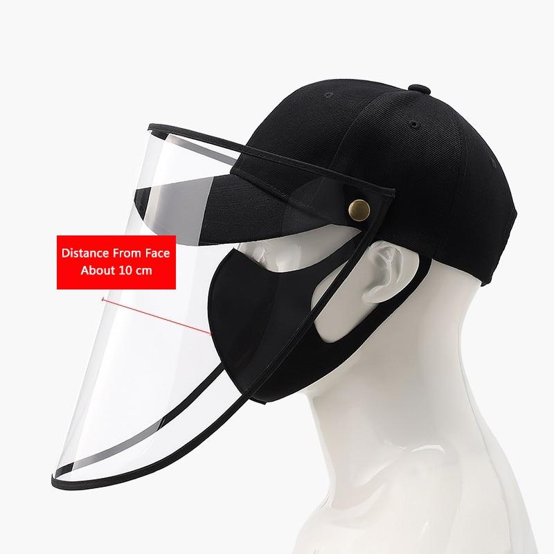 HOT Removable Anti-fog Hat With Dust Cap Men Women Sun Basin Hat Anti-virus Saliva Black Snapback Isolation Baseball Caps
