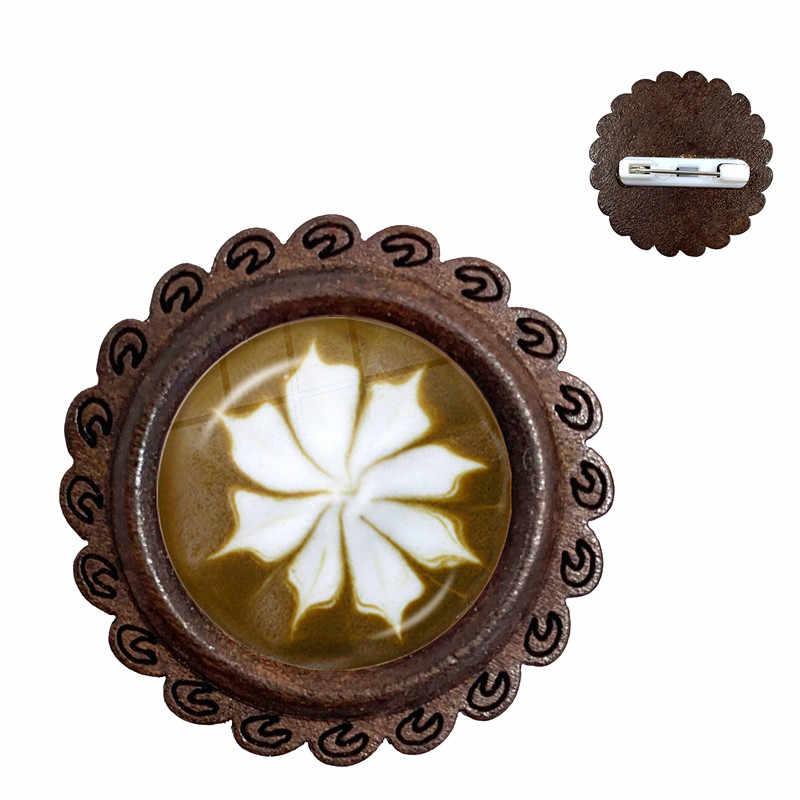 Кофе латте резьба Шоколад Печать кошка стеклянная брошь из кабошона Любовь Сердце цветок Клевер Снежинка колье с амулетом булавки для подарка