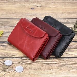 Image 2 - جديد وصول الاتجاه محفظة جلدية حقيقية الإناث المرأة المحفظة محفظة صغيرة جودة محفظة نسائية للعملات المعدنية النساء زر حقيبة مزودة بسحّاب محفظة