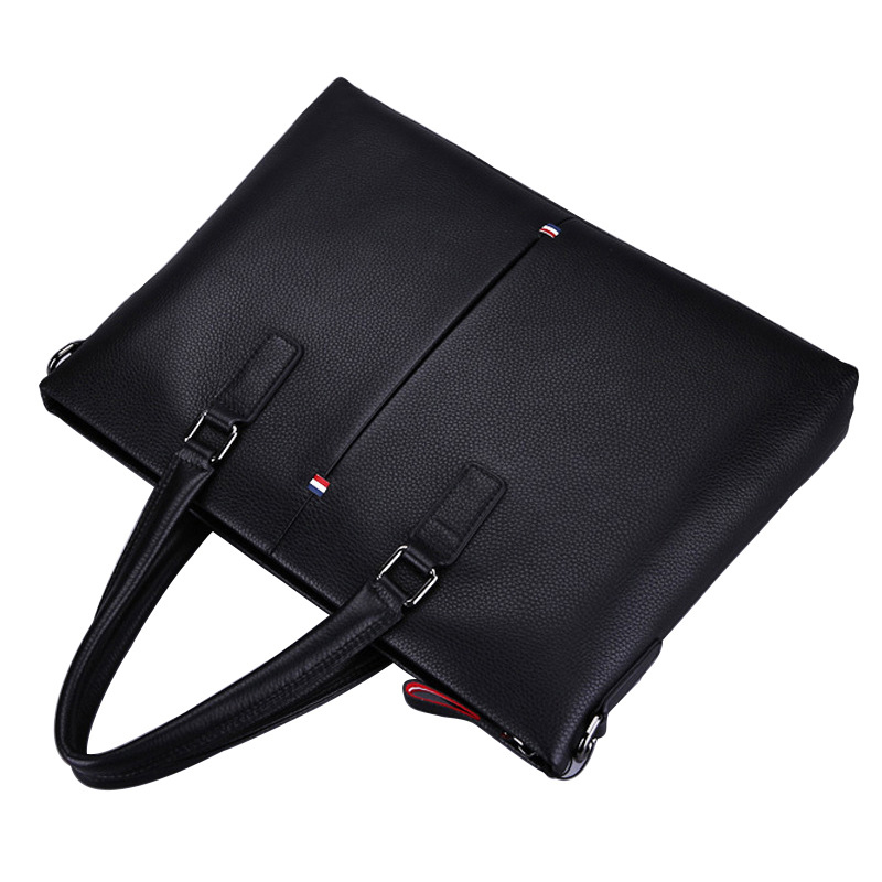 Black Leather Briefcase Men Leather 14'' Laptop Men Official Postal Bag Office Male Combination Shoulder Bag