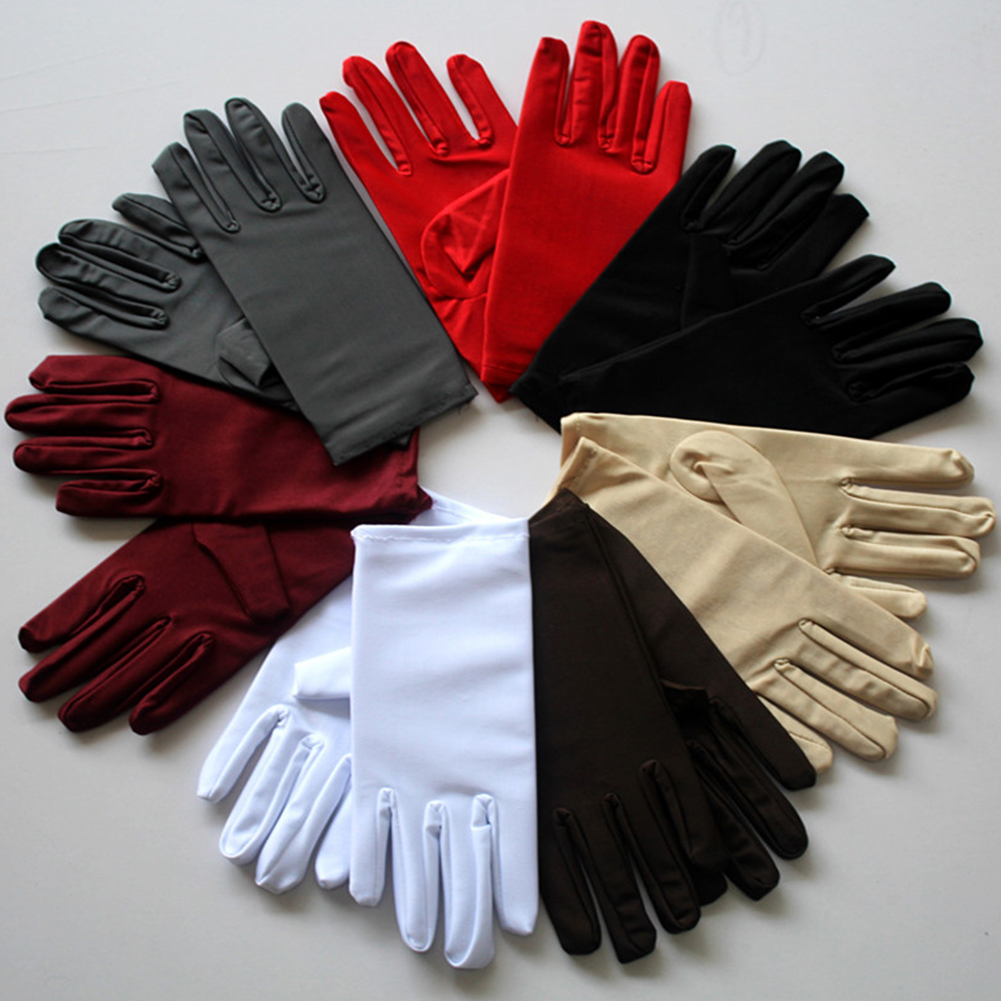New 2019 9 Colors Fashion Opera Evening Party Formal Prom Stretch Satin Gloves Thin Short Driving UV Protection Glove Women Girl