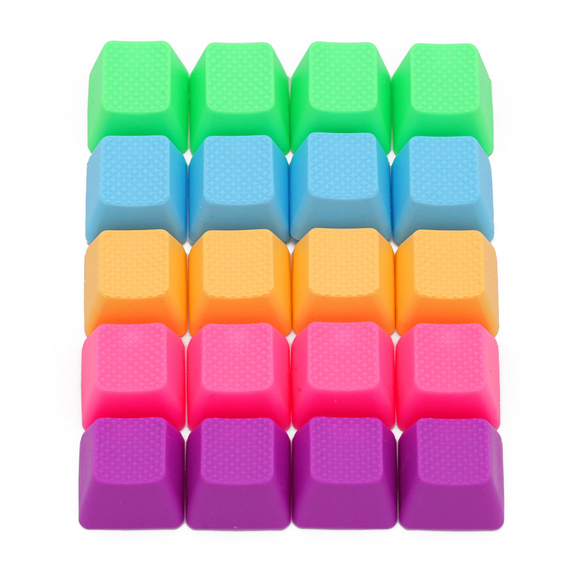 Taihao Rubber Gaming Keycap Set Rubberized Doubleshot Cherry MX OEM Profile 20 Key Magenta Purple Neon Green Yellow Light Blue