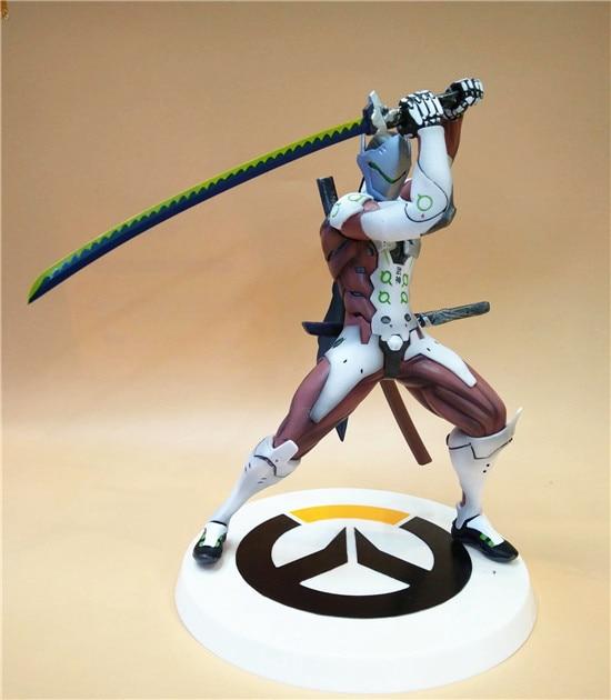 Anime Game Overwatch Genji Changeable Hands Black White Figure Dolls 27cm 2