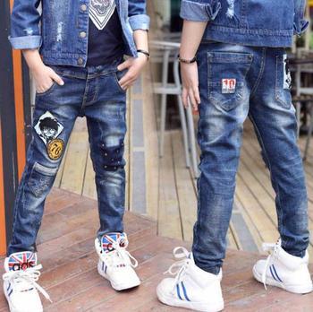 Dziecięce jeansy chłopięce nowe dziecięce prawdziwe kieszonkowe boutique dziecięce spodnie średnie i duże dziecięce spodnie dziecięce chłopięce tanie i dobre opinie Na co dzień Pasuje prawda na wymiar weź swój normalny rozmiar Elastyczny pas Chłopcy Cartoon REGULAR Distrressed Stonewashed
