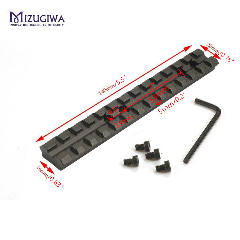 MIZUGIWA 14cm 5.5'' Picatinny Weaver 20mm Rail Scope Mount Base 13 Slots Rifle Gun Shotgun 500,590,835 Series