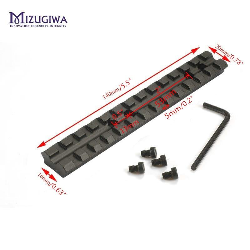 MIZUGIWA 14cm 5.5'' Picatinny Weaver 20mm Rail Scope Mount Base 13 Slots Rifle Gun Shotgun 500,590,835 Series