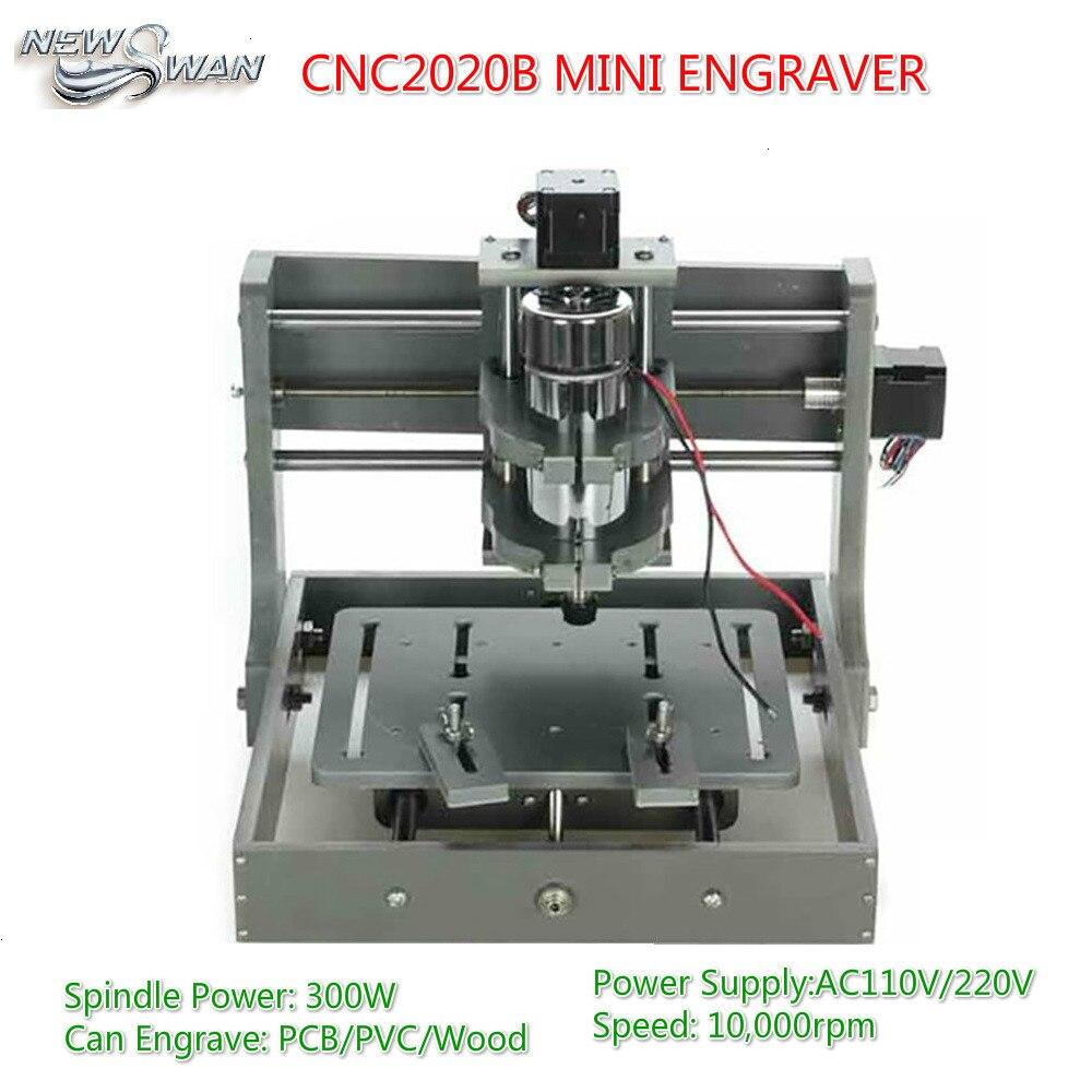 Free Shipping CNC 2020B Mini 300W Engraving Machine Wood Router DIY Milling Machine CNC2020B GRBL Engraver For PCB PVC Wood