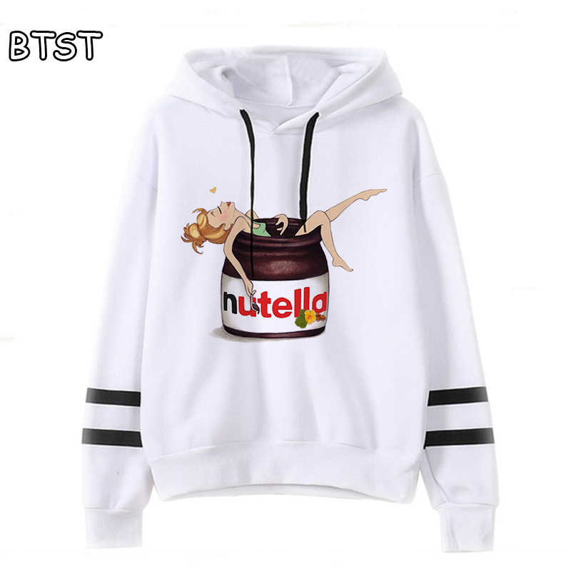 NUTELLA CHOCOLATE HAZELNUT PRINT FUNNY ART  HOODED CROP TOP GYM TOP GIRLS ADULT