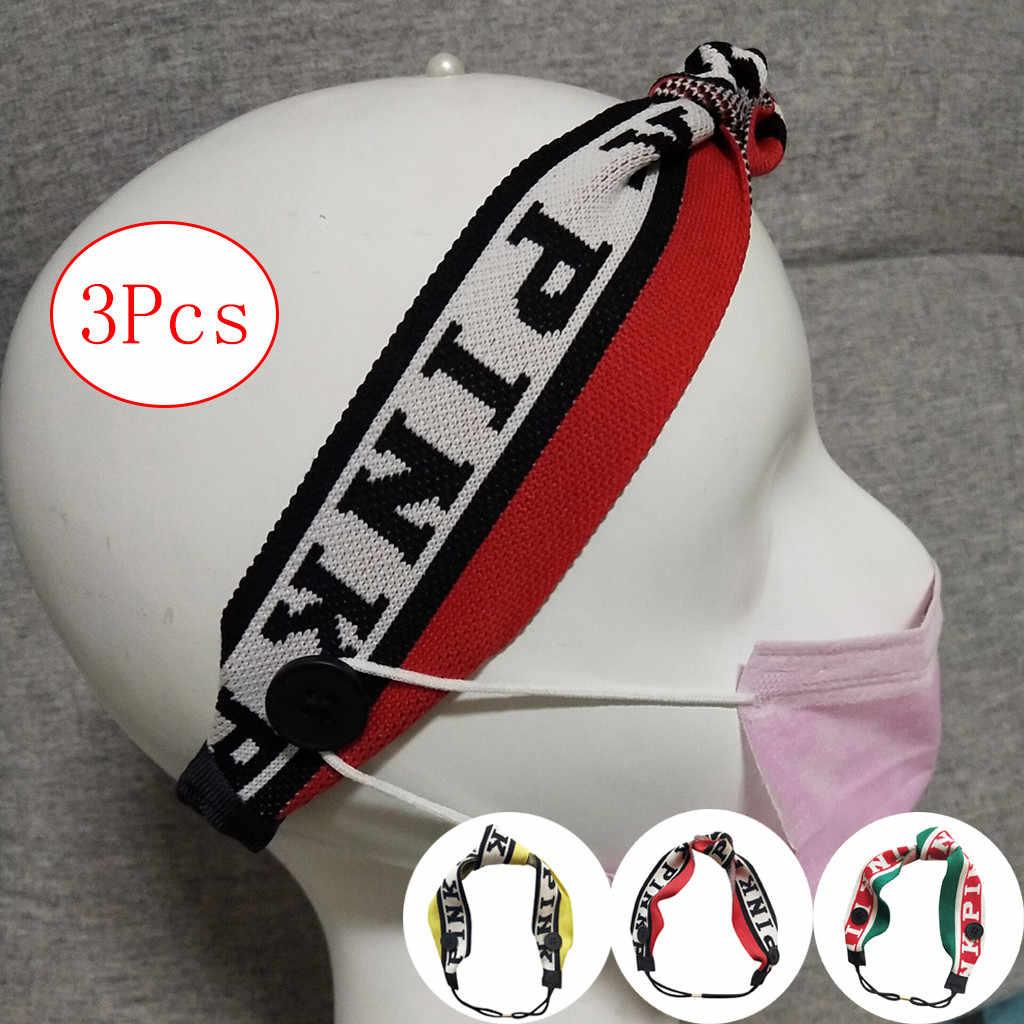 Women Mask Accessories Button Headband Yashmak Holder Wearing A Yashmak- Protect Your Ears 3pcs Elastic Hairband Fitness