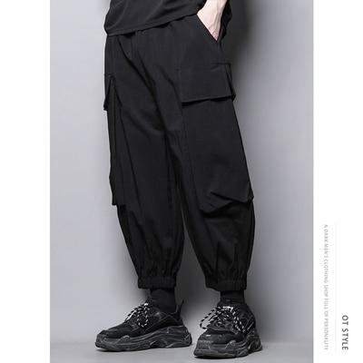 Dark personality hip hop, loose harem pants, tight waist, wide leg pants, smokepants, overalls, big pockets, Capri Pants