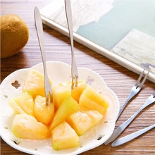 2-piece double-toothed fork stainless steel fruit dessert cake small fork, lightweight handle