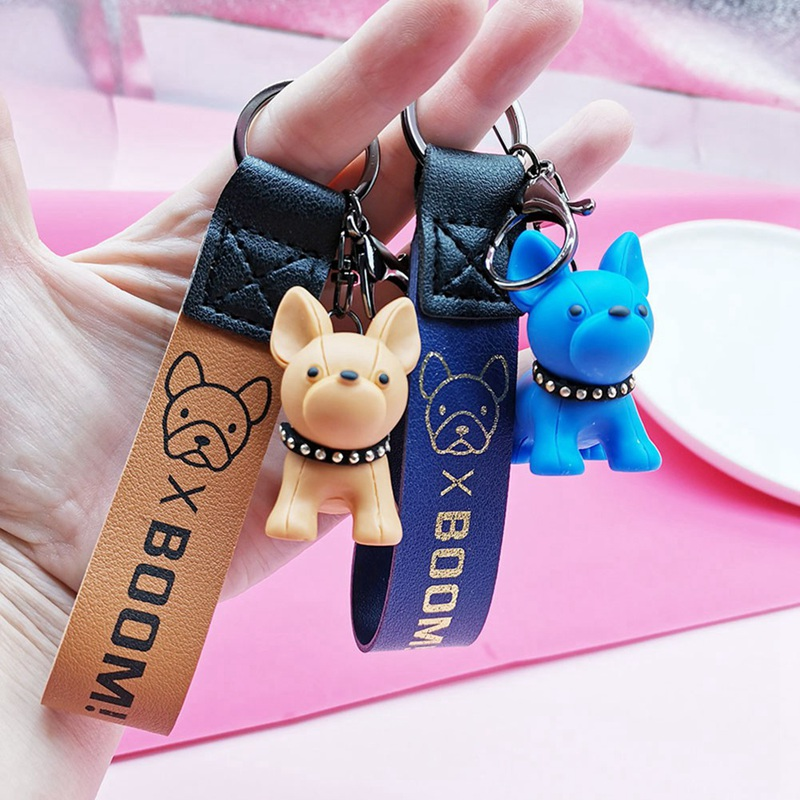 French Bulldog Leather Rope Key Chain Pendant Lichen Puppies Animal Couple Bag Pendant Bag Decoration Birthday Gift