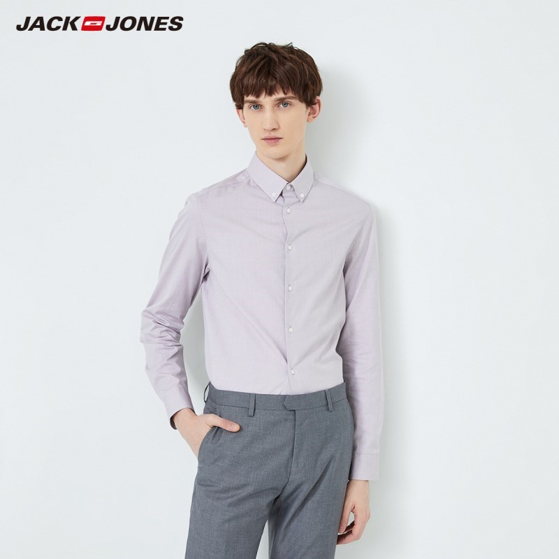 JackJones Men's 100% Cotton Turn-down Collar Slim Fit Business Casual Long-sleeved Shirt 219305524