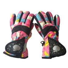 Waterproof Winter Skiing Snowboarding Gloves Warm Mittens For Kids Full-Finger Gloves Strap for Sports Skiing Cycling 3~7 Year cheap NYLON aslan+ Warp knitting velvet+nylon Print Unisex for 3~7 years old children