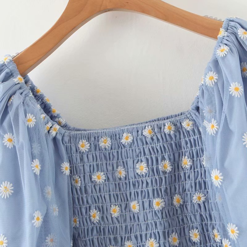 toppies daisy embroidered blue shirt top womens lantern sleeve blouses summer short shirts mesh yarn spliced