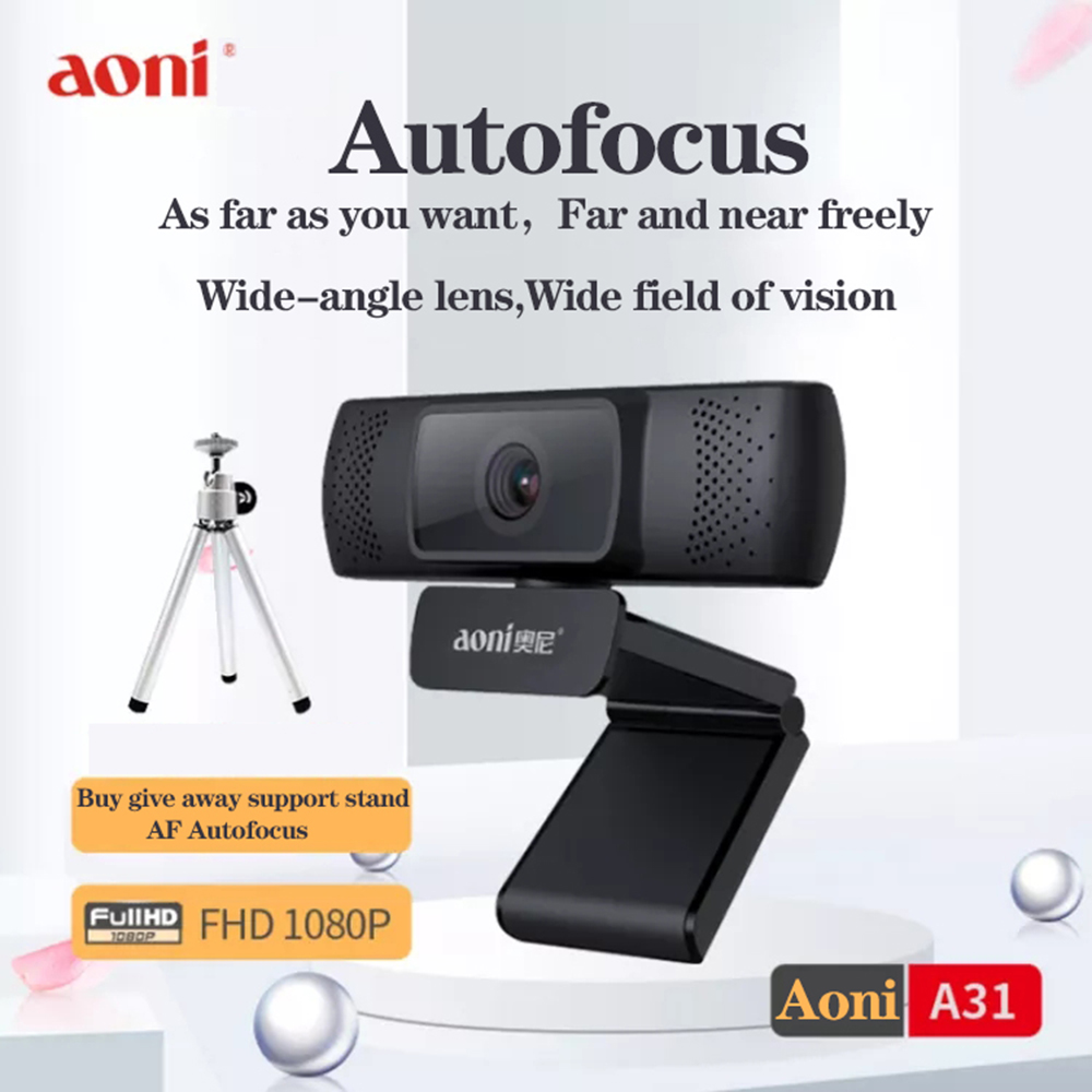 Aoni A31 Webcam 1080p HD Webcam With Built-in HD Microphone USB Plug And Play Webcam 1080p Autofocus, Widescreen Video Web Cam
