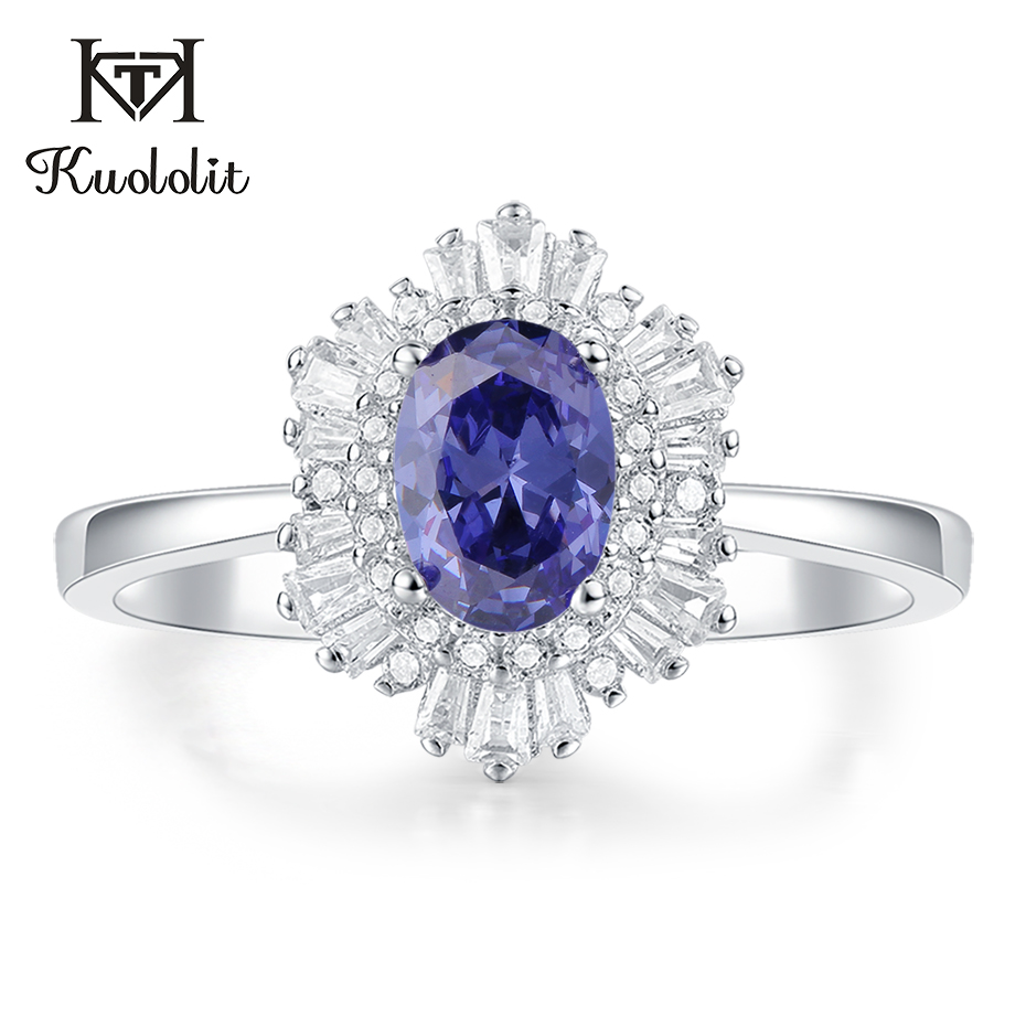 Kuololit Tanzanite Morganite  Gemstone Rings For Women Solid 925 Sterling Silver Handmade Hexagon Ruby Emerald Ring Fine Jewelry