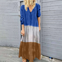 Womens Large Size Dress Dyed Block Loose V-Neck Longt-Sleeved Casual Autumn Long Gradient Color Beach Blesas