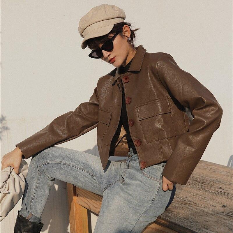 [LANMREM] 2020 Spring New Products Fashion Lapel Single-breasted High-waist Slim Slim Leather Jacket PA502