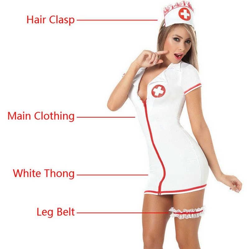 Wanita Pakaian Dalam Seksi Perawat Godaan Kostum Gaun Set Role-Playing V Leher Lengan Pendek Mewah Dokter Cosplay Set