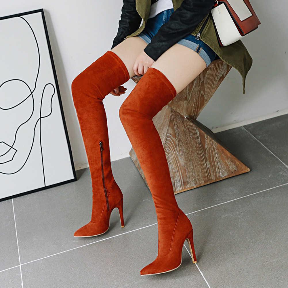 חדש לגמרי נעלי נשים אישה בתוספת גדולה גודל גדול 32-48 מעל הברך מגפי העקב דק סקסי מסיבת מגפיים botas de mujer 2019