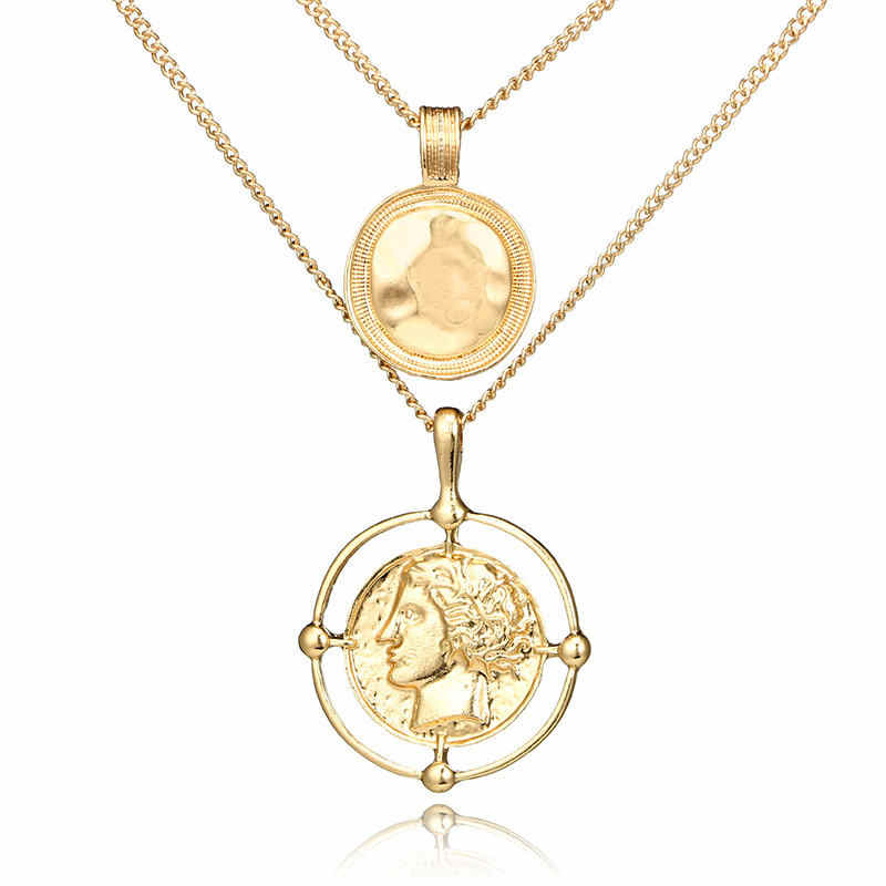 X181 Vintage Multilayer Necklace For Women Coin Pendant Gold Chain Chokers Necklaces Boho Jewelry 2019 Fashion accesorios mujer