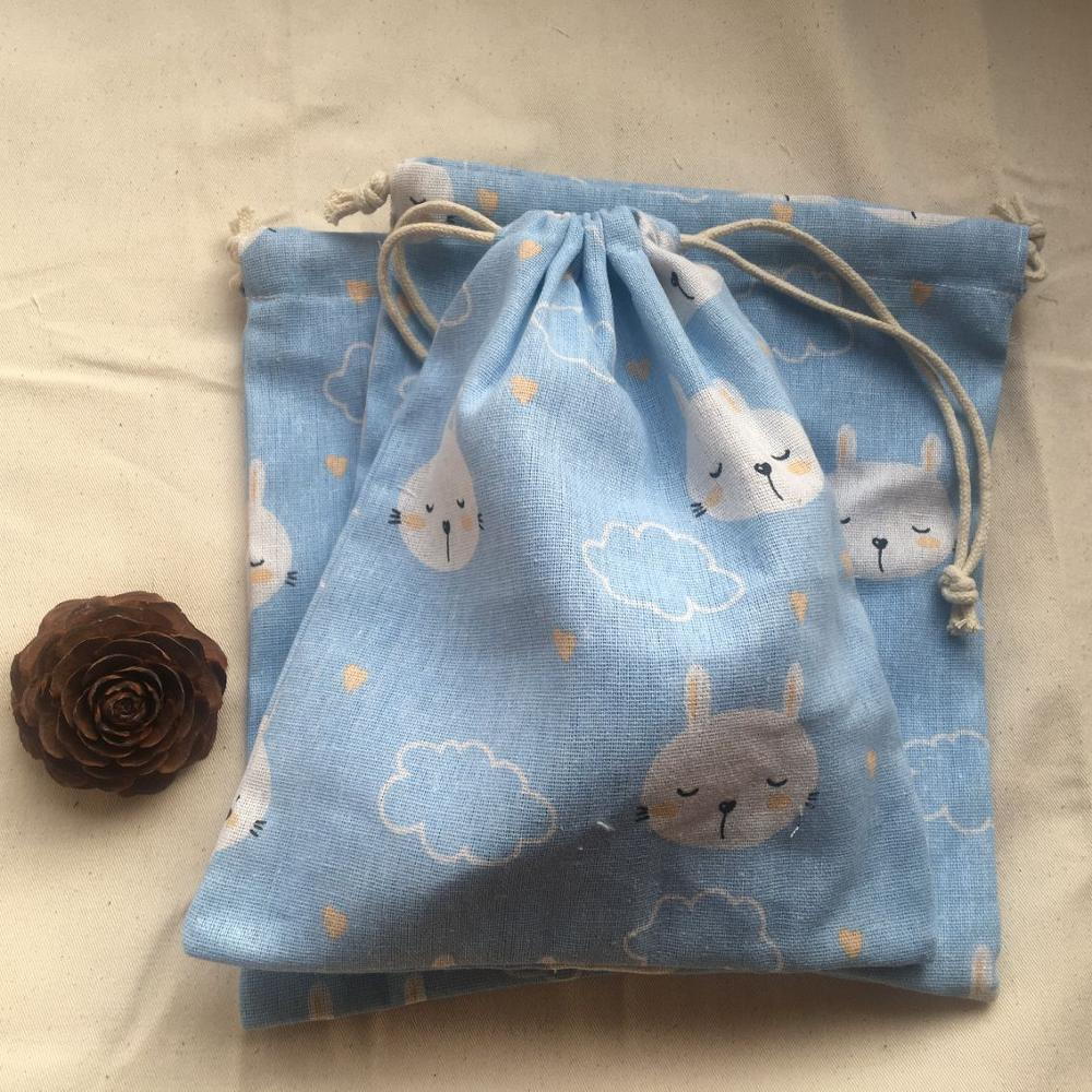 Cotton Linen Drawstring Pouch Multi-purpose Organized Bag Party Gift Bag Rabbit Blue 12b