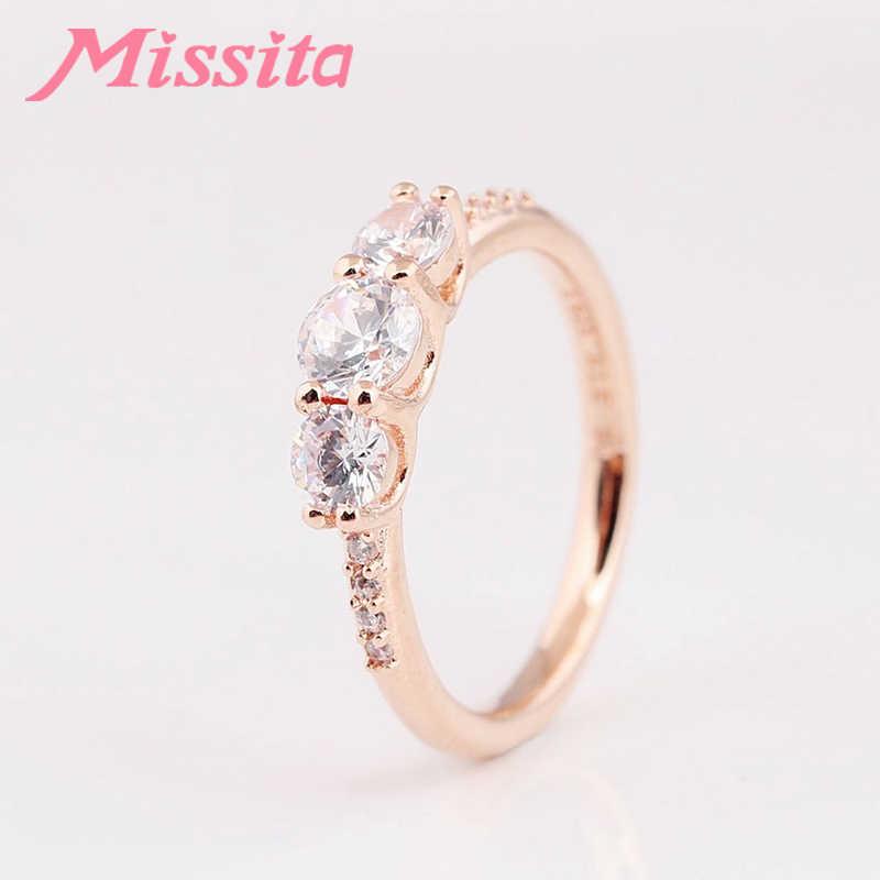 MISSITA 2019 ใหม่ Rose Gold Zircon แหวนนิ้วสำหรับผู้หญิง Fit Pan หมั้นเครื่องประดับของขวัญ Dropshipping