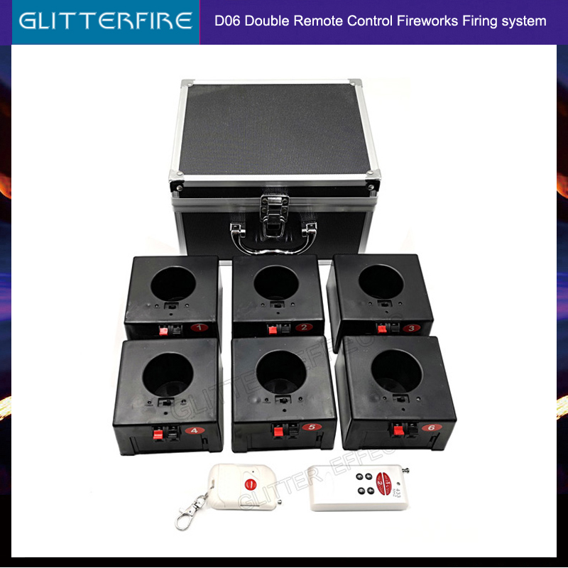 D06 Double Remote Control Wireless 6 Cues Receiver Stage Wedding Equipment Firework Fountain Base Machine
