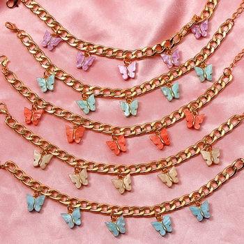 Flatfoosie 2020 Trendy New Gold Silver Color 16 Butterfly Bracelets Acrylic Animal Wide Bracelet Women Cute Jewelry Party Gift