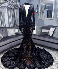 African Black Girl Long Prom Dress Sexy See Through V neck Long Sleeve Black Lace Sequin Mermaid Prom Dresses 2020