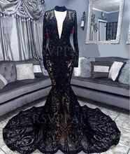 Afrikaanse Zwarte Meisje Lange Prom Dress Sexy See Through V hals Lange Mouwen Zwart Kant Sequin Mermaid Prom Dresses 2020