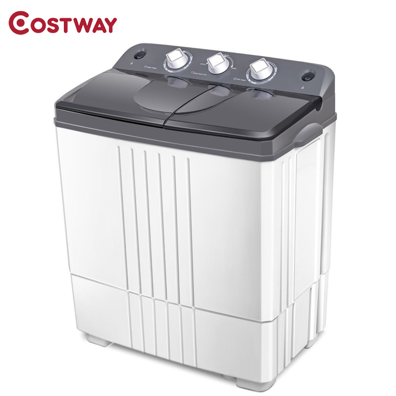 COSTWAY 16 Lbs Twin-tub Portable Mini Washing Machine All-In-One Automatic Freestanding Top Loading Washing Machines EP23614 image