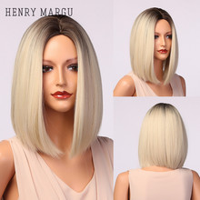 HENRY MARGU Light White Blonde Ombre Short Bob Wigs for Women Synthetic Straight Hair Wig Natural Cosplay Party Middle Part Wigs