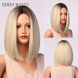 Генри MARGU светильник Белый Блондинка с эффектом деграде (переход от темного к парики для Для женщин Синтетические прямые волосы парик из нат...
