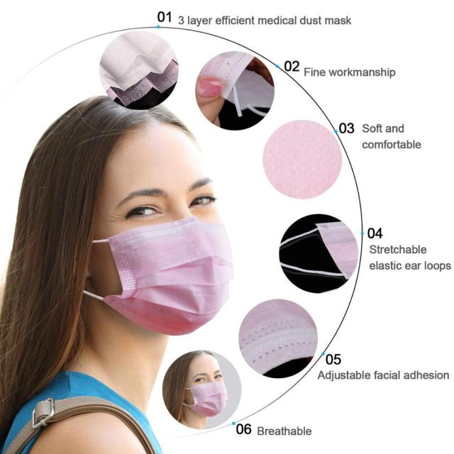 10/20/50/100/200 pcs/Bag 3 Layer Non-woven  Face Mask Disposable Mouth Mask  Safety Mask Earloop Face Mask pink colors Masks 1