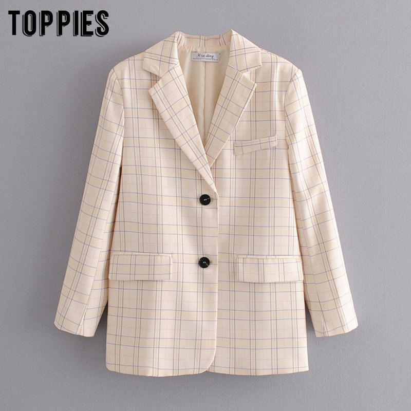 2020 Fashion Lattice Jackets Womens Blazer Loose Single Breated Coat Ladies Formal Blazers Summer Suits