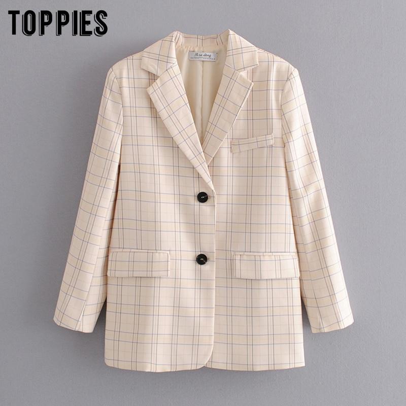 2020 Fashion Lattice Jackets Womens Blazer Loose Single Breated Coat Ladies Formal Blazers Summer Suits