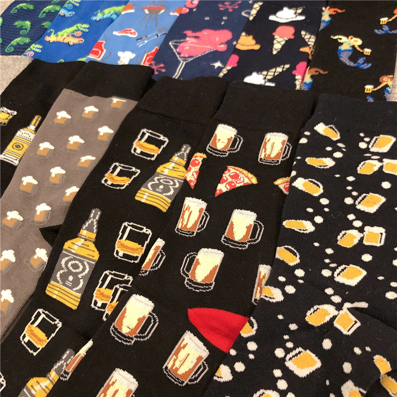 Adult Mid Calf Crew Alcohol Cotton Socks Wine Beer Bubble Whisky Whiskey Champagne Sake Cocktail Brandy Vodka Rum Tequila Spirit
