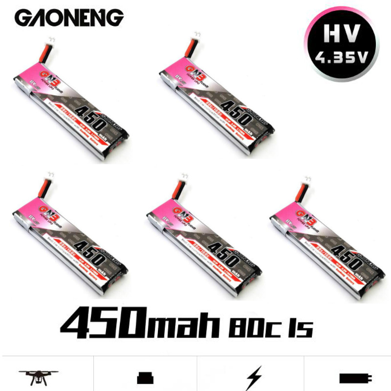 GAONENG GNB 4.35V 450mAh 1S 80C HV Battery PH2.0 Plug White Plug For E010 M80S Tiny7 Micro RC FPV Racing DroneCine Whoop