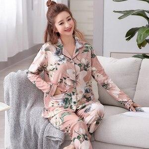 Image 3 - Womens Lange Mouwen Pyjama Lente Katoen Bloemen Vrouwen Nachtkleding Losse Twee Stukken Set Vrouwelijke Pyjama Plus Size 3XL Pijama Mujer