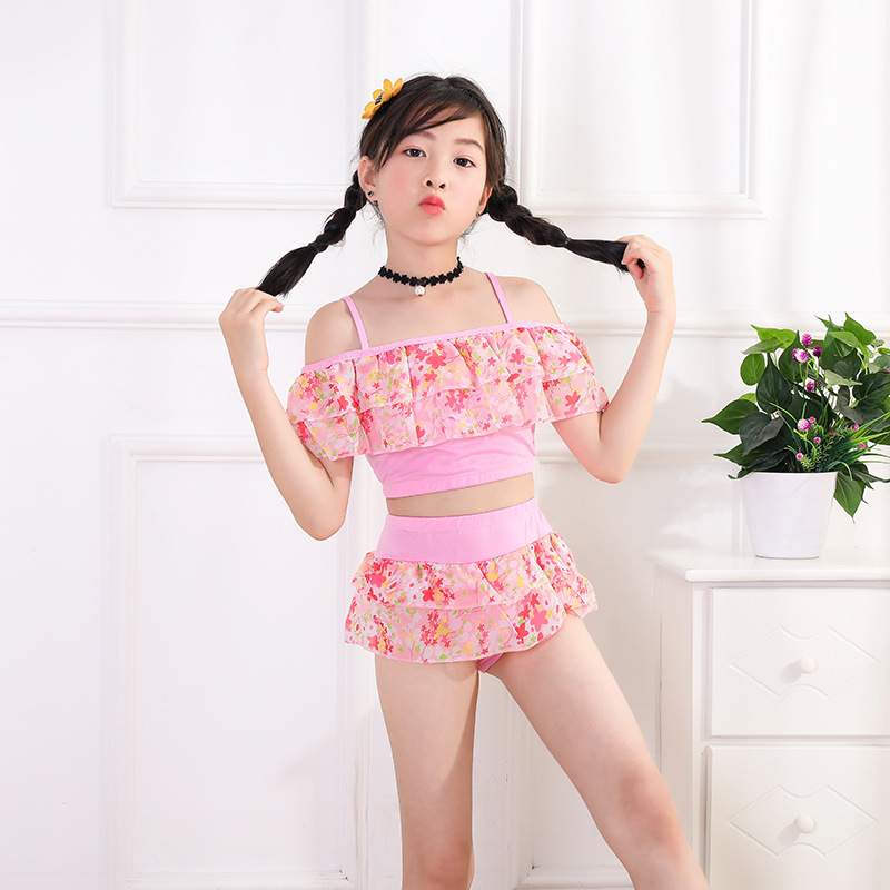 Hot Selling Big Boy Tour Bathing Suit Women's Small Floral Girls KID'S Swimwear Camisole Split Type Swimwear Manufacturers Direc