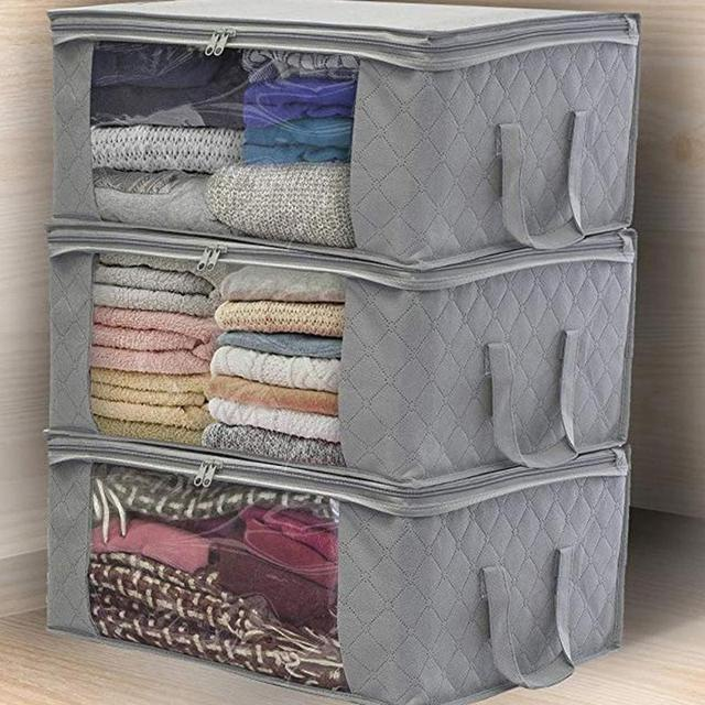 3 Clothes Quilt Storage Bag Blanket Closet Sweater Organizer Box Sorting Pouches Clothes Cabinet Container Travel Home Dropship